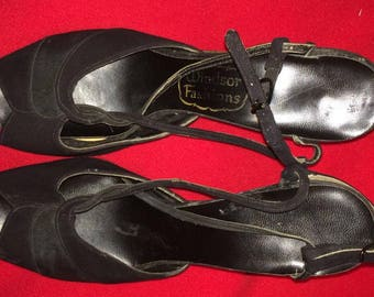 Late 50s-early 60s black suede peep toe heels, size 7-8