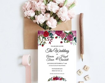 Ruby Roses Wedding Invitation