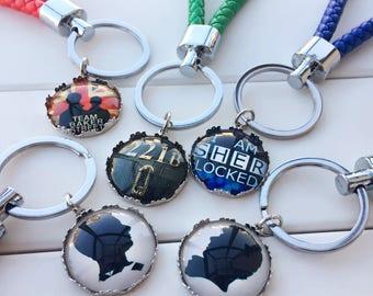 Sherlock Holmes Keychain | Watson keychain | 221B Keychain