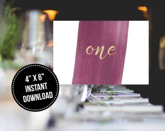 Modern Calligraphy Wine and Gold Watercolor Table Numbers Printable Instant Download (1 to 20)