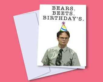 Dwight Schrute Birthday Card, The Office Birthday Card, Funny Dwight Card, Bears Beets Birthday's, Birthday Card for Old People,