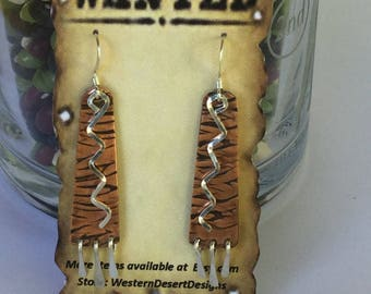 Mixed metal copper silver dangle earrings