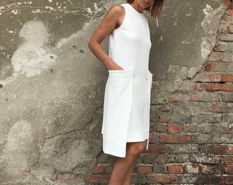White Summer Dress, Minimalist Dress, Women White Dress, Cotton Dress, Short Dress, Futuristic Clothing, Sun Dress, Cocktail Dress