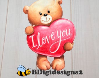Teddy Bear Valentine Heat Press Transfer