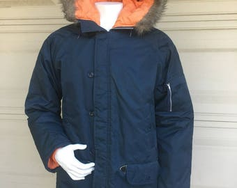 Men's Hooded Parka Navy Blue Anorak Jacket with Faux Fur Large