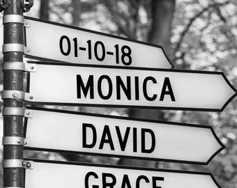 Personalized Intersection Street Sign Gift THREE WAY SIGN Names Date Custom For New Baby Wedding