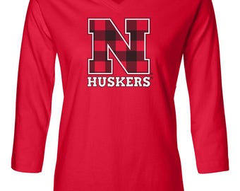Women's Nebraska Huskers Plaid N 3/4 Sleeve V-Neck Premium Top - Tee Shirt - Officially Licensed Unique Cornhusker Apparel With LOVE RED
