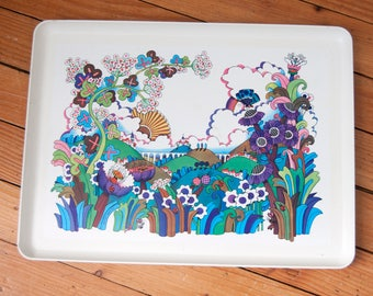 Vintage metal tray - Flowers serving tray - Seventies 70's - Old french blue tray for breakfast - Food tray - Scandinavian salver Tupperware
