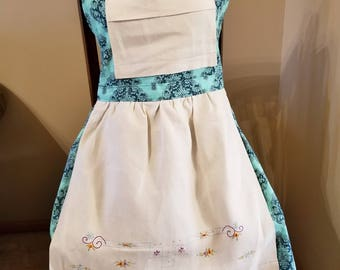 Light Teal & Deep Teal Damask Pattern Vintage Linen Apron, Vintage Linen, UpCycled Vintage Linen, Ready to Ship, Full Apron, MarjorieMae