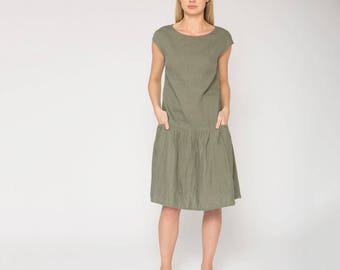 Khaki Linen Dress With Lower Sleeves, Crumpled Bottom and Side Pockets