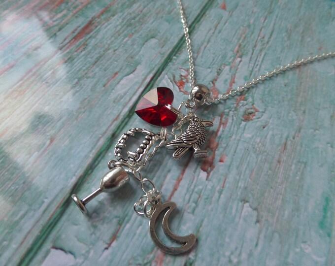 THE VAMPIRE DIARIES Raven inspired silver charm necklace damon elena fan gift jewellery Uk