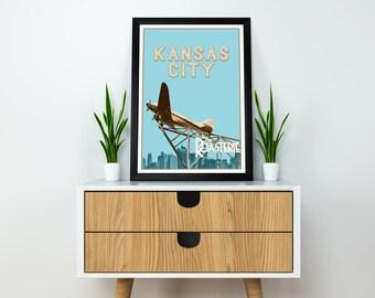 "Kansas City 12""x18"" Roasterie DC-3 Plane Travel Poster"