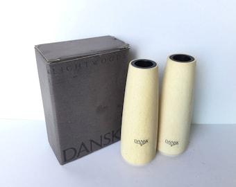2 LIGHTWOODS DANSK CANDLEHOLDERS Vintage Set of Wood Candleholders New in Box
