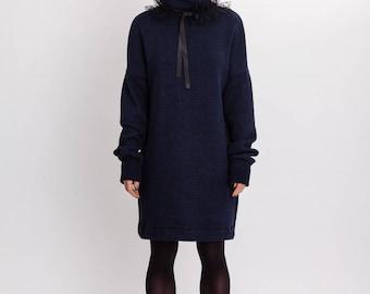 Woman's dark blue dress / Elegant pure wool long sleeves dress / Lagenlook knee length fashion dress / Long pullover dress / Fasada 17174