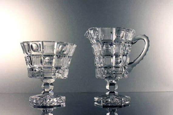 Crystal Sugar Bowl and Creamer, Dot and Square Pattern, Heavy, Deep Cut Crystal, Thumbprint, Hexagon Foot