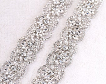 LAVENDER Silver Rhinestone Diamante Crystal Jewel On Ribbon Colour of Your Choice * Can Make Straps*