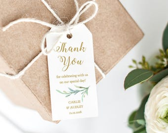 Thank You Tag, Wedding Favor, Wedding Thank You Tags, Gift Tags, Thank You Printable, Wedding Printable, Greenery. Edit in WORD or PAGES