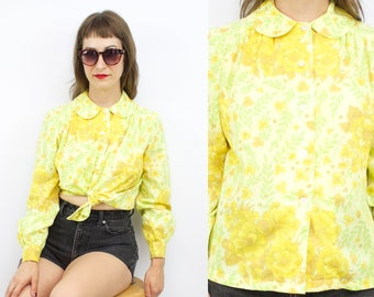 Vintage 60's 70's Yellow Floral Cotton Peter Pan Collar Blouse / 1960's Summer Blouse / Goldenrod / Women's Size Small/Medium
