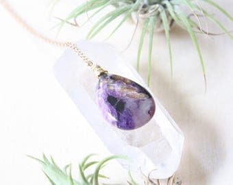 Charoite Necklace, Gemstone Drop Necklace, Natural Raw Stone Necklace, Teardrop Necklace, Gold Gemstone Necklace