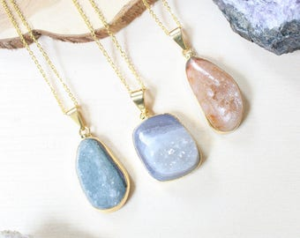 Raw Stone Necklace, Boho Jewelry, Natural Stone Necklace, Geode Necklace, Druzy Necklace, Necklace Gift, Bohemian Jewelry, Festival Jewelry