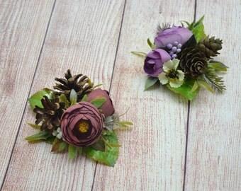 Flower hair clip Purple Bridesmaid hair accessories Wedding hair clip Bridal hair clip Flower girl hair clip Gift for her Rustic wedding
