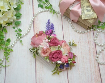 Flower Hair Comb Pink hair comb Flower Hair Pink Wedding hair accessories Wedding hair comb Bridal hair accessories Wedding flower comb pink