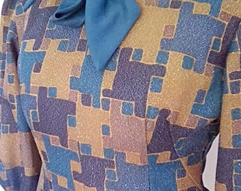 Vintage pussy bow blouse 70s fitted long sleeve blue gold geometric pattern with metallic sparkle size x small