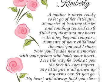 My Daughter Wedding Poem 'A Mother Is Never Ready'  Personalized 5 x 7 Print