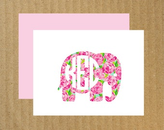 Elephant Note Cards, Set of 25, Preppy Note Cards, Lilly Inspired Pattern, Elephant Monogram Cards, Baby Thank You Cards, Thank You Cards