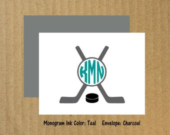 Hockey Note Cards, Set of 10, Hockey Monogram, Hockey, Monogram Note Cards, Thank You Cards, Hockey Note Cards, Hockey Thank You Cards