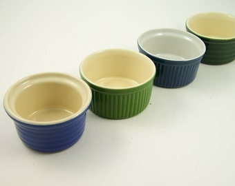 4 round ramekins Emile Henry  fire ceramic blue, green vintage  Made in France
