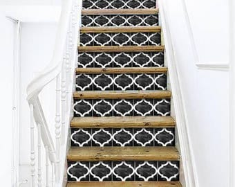 """Stair Riser Stickers - Removable Stair Riser Vinyl Decals - Zahara Pack of 6 in Black - Peel & Stick Stair Riser Deco Strips - 48"""" long"""