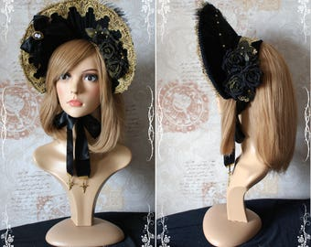 Sale!!!!Black and Gold lolita bonnet
