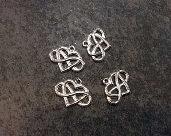 Infinity symbol Heart charms in bright silver finish perfect for adjustable bangles and jewelry making Package of 4 charms