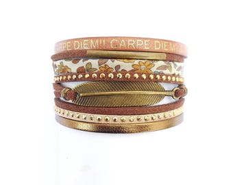 camel beige carpe diem liberty and feather leather Cuff Bracelet sales/bronze cuff bracelet brown / suede and leather / feather