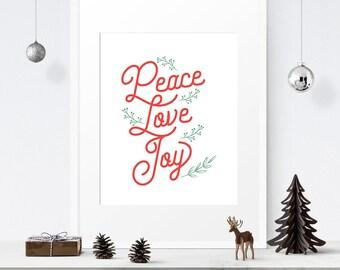 Christmas printable, Peace Love Joy sign, Printable wall art, Christmas prints, Holiday sign, Christmas wall art, Holiday print, Printable