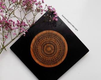 Original handrawn mandala illustration wooden wall hanging art in black.