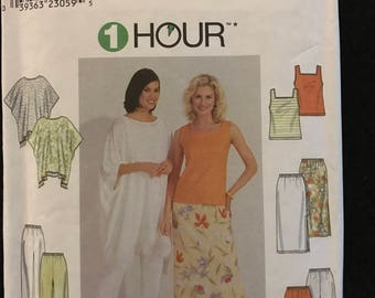 Simplicity 8757 - 1 Hour Poncho, Pants, Skirt, and Tank Top - Size L XL