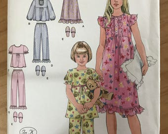 Simplicity 2831 - In K Designs Girl's Pajama Set, Nightgown, and Slippers - Size 7 8 10 12 14