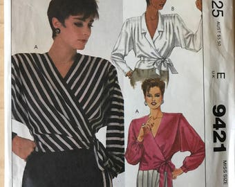 McCalls 9421 - 1980s Liz Claiborne Front Wrap Blouse with Notched Collar and Shoulder Pleat Options - Size 10 Bust 32.5