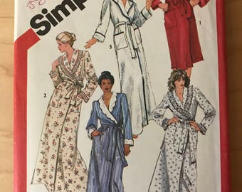 Simplicity 5814 - 1980s Wrap Front Robe in Knee or Maxi Length with Shawl Collar and Hood Option - Size 18 20 Bust 40 42