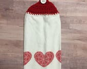 Crocheted Top Dish Towel - Valentine's Day Three Hearts