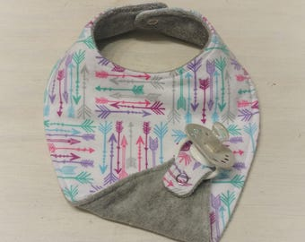 Triple Layer Pacifier Bib- Binky Bib -Girly Arrow - Pink, Purple, Gray, Teal- Arrow Print