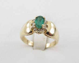 14K Yellow Gold Emerald And Diamond Ring Size 7