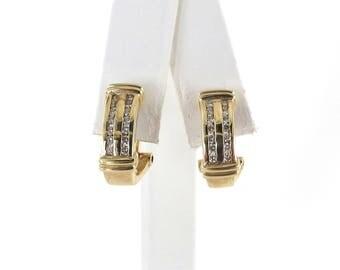 Diamond Earrings 14k Yellow Gold Omega Back 0.65 carat