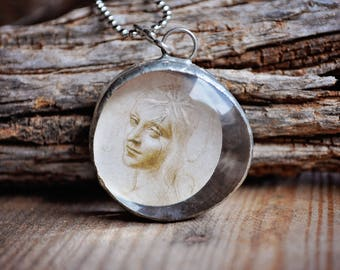 Handmade Soldered Round Pendant Necklace w/Virgin Mary (Madonna) Image (Bohemian, Gypsy, Hippie)