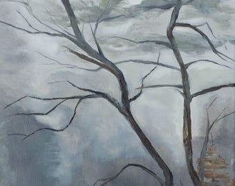 Foggy Tree - Oil Painting Original on Canvas