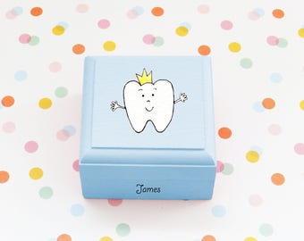 Personalised Tooth King Trinket box/hand made/Personalised/tooth fairy box/painted box/boy tooth box