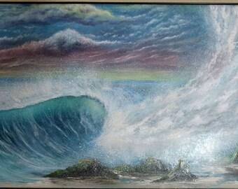 Breaker Breaker!!  - 24x36 Oil on Canvas Original Painting -  Wave Art, Beach Art, Sunset art, Surf Art, Seascape Art