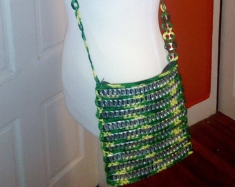 "One day shipping! ""Mini Green Pastures"" Green and Yellow SODA Tab Pop Top Pull TAB Crochet Purse Bag Handmade"